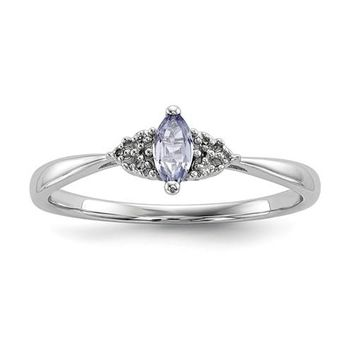 Sterling Silver Diamond Accented Marquise Cut Petite Tanzanite Ring
