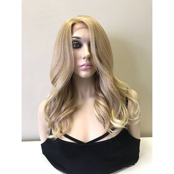 Light Blonde Human Hair Blend Deep Part Lace Front Wig -  Gabby