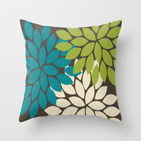 Bold Colorful Biege Brown Teal Green Dahlia Flower Burst Petals Throw Pillow by TRM Design