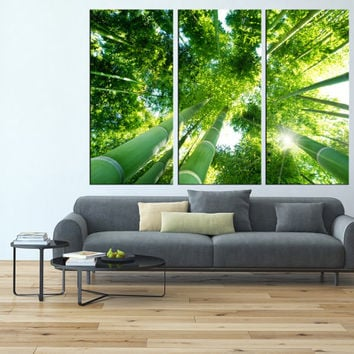 gree bamboo tree canvas wall art,  sunset canvas print, large wall art canvas print, extra large wall art, landscape wall art canvas t131