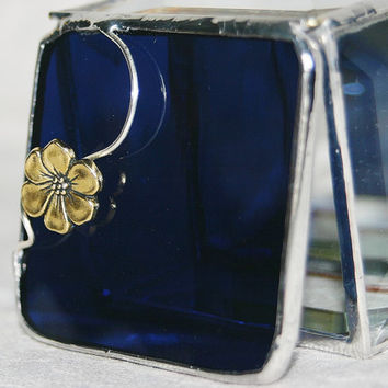 Stained Glass Jewelry Box Elegant Indigo Blue 2x2 by GaleazGlass