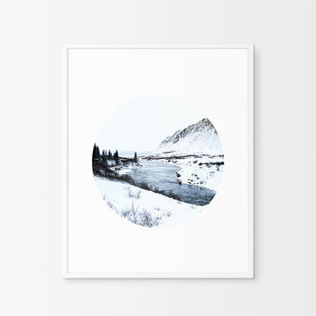 Printable Scandinavian Art, Mountain, Print, Iceland circle. Nordic Poster, Minimal Geometric artwork. Modern Geometric. Instant download