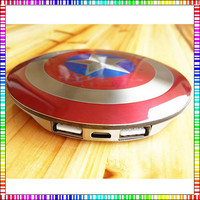 Avengers America Captain Power Banks 6800mAh dual USB Stainless Steel Mobile chargers Universal for iPhone5S 6 android phones