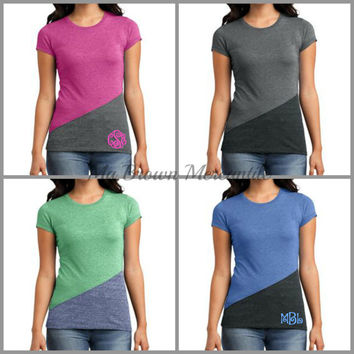 Monogrammed Plus Size Color Block T-Shirt - 4 Colors - Grey - Pink - Blue - Green - Curvy Girl-XL to 4XL! (DT243)