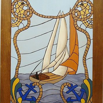 Anchors Away Sailboat Nautical Wood Sculptured Wall Decor, Wall hanging.