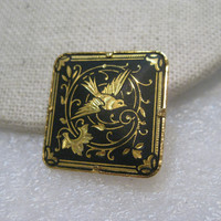 Vintage Damascene Soaring Bird Brooch, Square 1""
