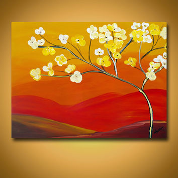 Original Painting Spring Decor Spring Art Spring Painting Easter Art Original Canvas Art Orange Painting Original Wall Decor Wall Hanging