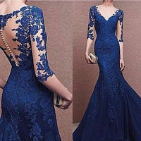 Long Sleeve Lace Prom Dress,Off The Shoulder Evening Dresses,Blue Mermaid Long Dress