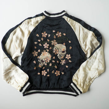 Japanese Souvenir Skull Punk Skeleton Sakura Cherry Blossoms Flowers Zen Simple Sukajan Flight Bomber Jacket