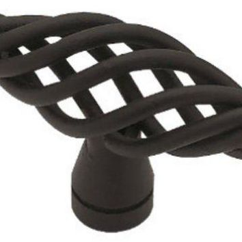 "Liberty Hardware PN0528-FB-C Small Birdcage Oval Knob, 2"", Flat Black"