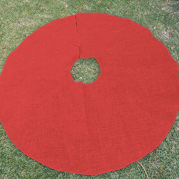 Red Burlap Christmas Tree Skirt, 60-inch