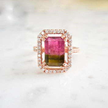 Watermelon Tourmaline Engagement Ring, Tourmaline Diamond Halo Ring, Pink and Green Tourmaline, Bi color, 14 k Rose Gold, Diamond Halo