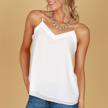 Button Back Tank Off White