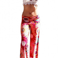 Red Printed Wide Leg Trousers
