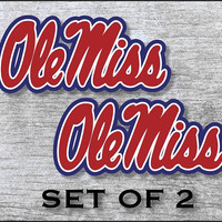 """Mississippi Ole Miss Rebels Sticker Decal Vinyl  SET OF 2 (12"""", 17"""") Cornhole Car Truck Any Flat Surface Wrap"""