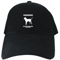 WARNING Bloodhound ON GUARD Black Baseball Cap Unisex