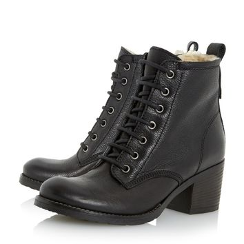 DUNE LADIES PATSIE - Warm Lined Leather Ankle Boot - black | Dune Shoes Online