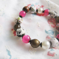 Beads bracelet- wood and plastic beads, material wrapped beads- pink with little flowers