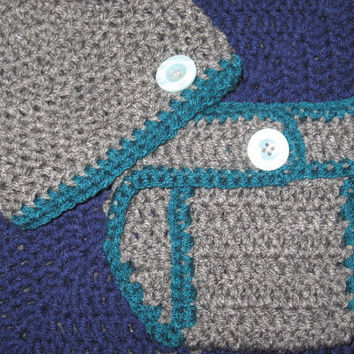 Heather Gray and Teal Baby Diaper Cover and Baby Hat Set Newborn- 3 months Baby Shower Gift, Ready to Ship