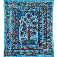 Twin Turquoise Tree Of Life Hippie Tapestry Wall Hanging Decor Art on RoyalFurnish.com