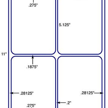"US1438- 3.875'' x 5.125''- 4 up label  on a 8 1/2"" x 11"" label sheet."