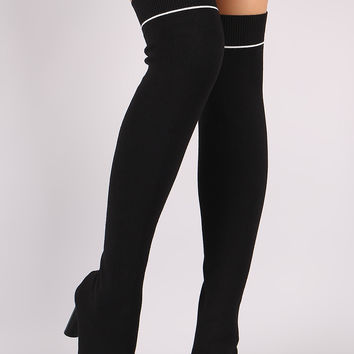 Ribbed Sweater Knit Striped Contrast Heel Over-The-Knee Boots