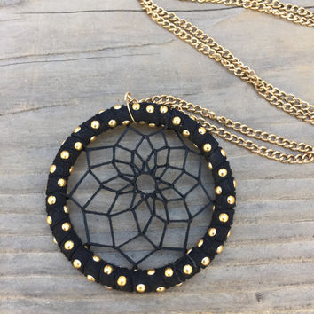 Gold and Black Dream Catcher Necklace