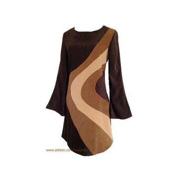 Vintage Mod Style Dress A Line Faux Suede Brown and Tan Medium Sizes