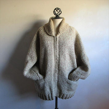 Oatmeal 60s Wool Curling Cardigan Shawl Handmade Vintage Mens 1960s Zip Front Knit Sweater
