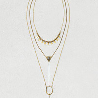 AEO CRYSTAL TRIANGLE LAYER NECKLACE