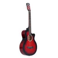 "Red 38"" Acoustic Folk 6-String Guitar for Beginners Students Gift"