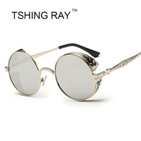 Vintage Round Steampunk Sun Glasses Fashion Men Women Carving Frame Luxury Sunglasses UV400 Male Female Steam Punk Hip Hop Point
