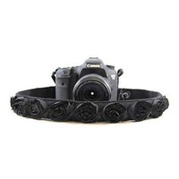 Black Rose Organza 1.5In Camera Strap - Capturing Couture - CASLR15-BKRS