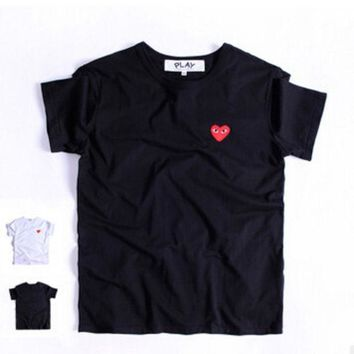 The New Summer And Fall 2016 Small Red Heart Sets Round Collar Couples Short Sleeve T Shirt For Men And Women