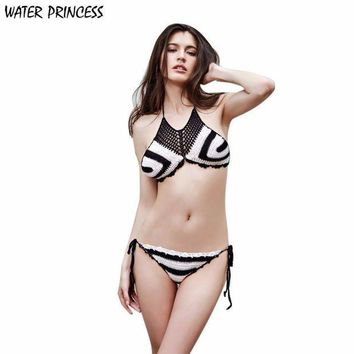 CREY78W WATER PRINCESS 2017 New Women Crochet Bikini Set Swimwear Beach Knit Bikini Swimsuit Bra de las mujeres Biquini