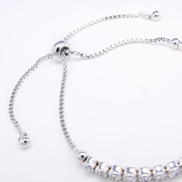 High Quality Simple Silver Bracelet Charms Crystal Bracelet Femme Silver Chain Bracelets for Women Jewelry Bijoux Gift