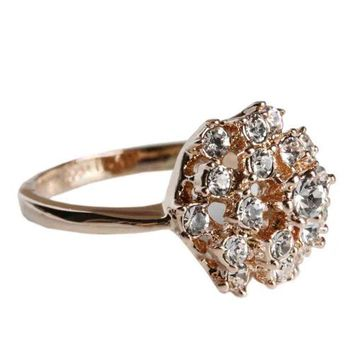 Fashion Plaza Flower Ring Use Austrian Multi-crystal Engagement Wedding Spark Ring R40