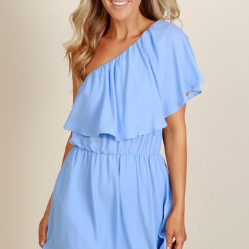 Brush It Off One Shoulder Dress Blue