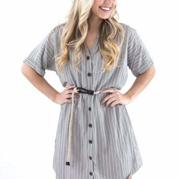 Women's Striped Shirtdress with Rope Belt
