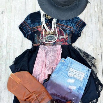 SALE Boho crop top, Summer bohemian cowgirl festival tunic top, Shabby clothes, french lace, romantic clothing for her, True rebel clothing