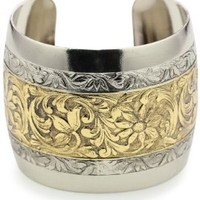 1928 Jewelry Prominence Silver-Tone and Gold-Tone Cuff Bracelet: Jewelry: Amazon.com