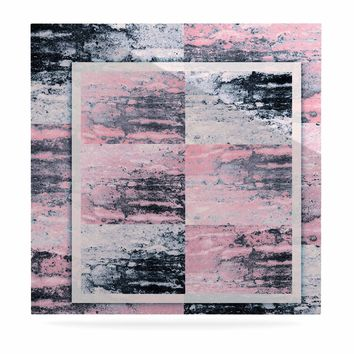 "Nina May ""Tavertina Pink"" Gray Pink Mixed Media Luxe Square Panel"