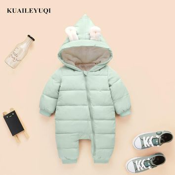 2018 spring autumn Warm baby girl boy Snowsuit down cotton baby Rompers hoodies Newborn overalls clothes kids children jumpsuit