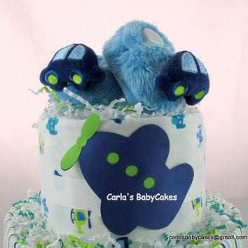 Baby diaper cake | Boy diaper cake | Airplane diaper cake | Baby shower decoration | Blue diaper cake | Baby shower gift | Diaper peapod