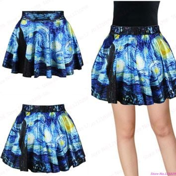 Vintage Van Gogh Starry Night Printed MiniSkirts Women Pleated Mini Skirt Summer Tennis Skirts Clothing Sport Kilts
