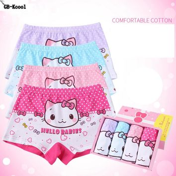 New 4Pcs/Lot Cotton 2-14 Years Baby Girls Panties Kids Cartoon Underwear Pant Children's Briefs Underpant Princess Boxer Shorts