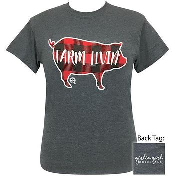 Girlie Girl Originals Preppy Farm Livin Plaid Pig T Shirt