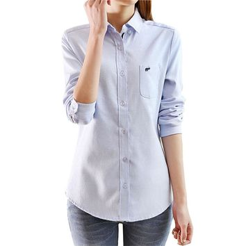New Women Tops Blouse Spring Long-Sleeve Casual Body Denim Shirt Slim Cotton