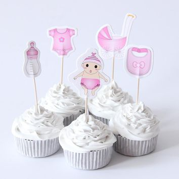 20pcs Baby Shower Cupcake Toppers picks Baby Shower Boy Girl Kids Birthday Party Favors Decorations Supplies cupcake toppers