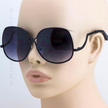 70's Retro Vintage Oversized Metal Black Frame Women Fashion Sunglasses Black